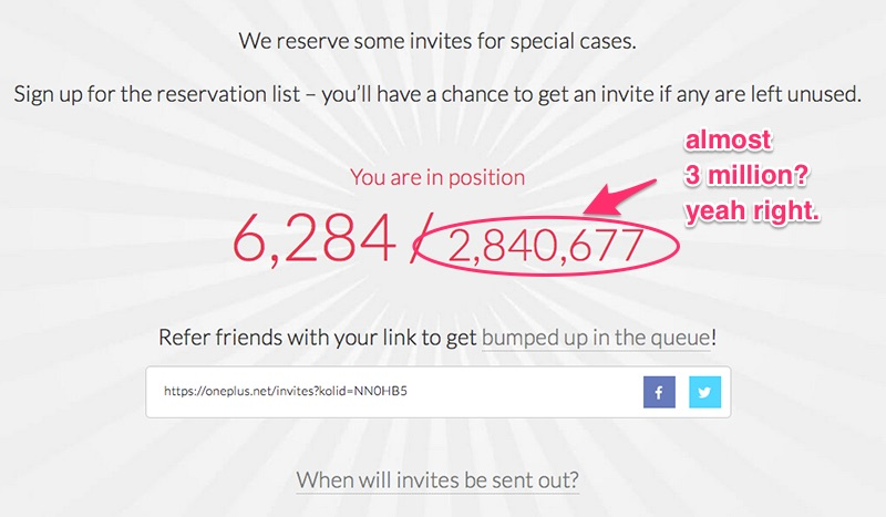 OnePlus Two Invite count